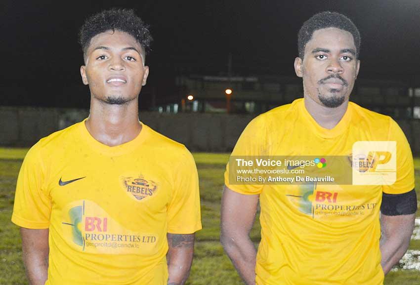 Image: Goal scorers Noah Nicholas and Twinkle Actil. (Photo: Anthony De Beauville)