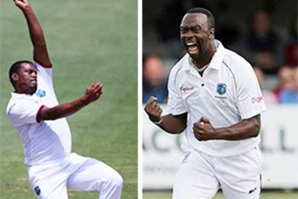 Image: (L-R) West Indies pace bowlers Shannon Gabriel and Kemar Roach. (PHOTO: Getty Images)