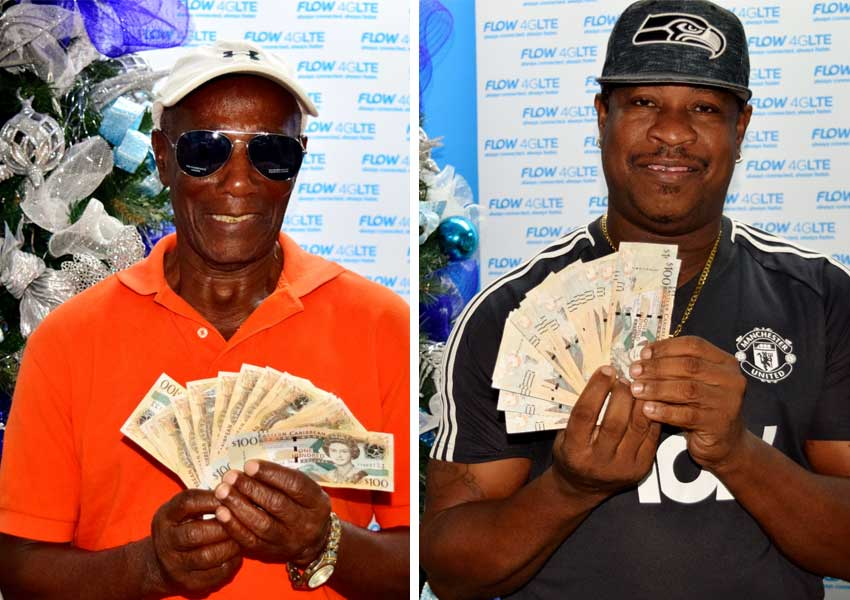Image: Anse la Raye resident Hector Berthia picked up an extra $2,000 from Flow for Christmas, just for paying his fixed line bill.