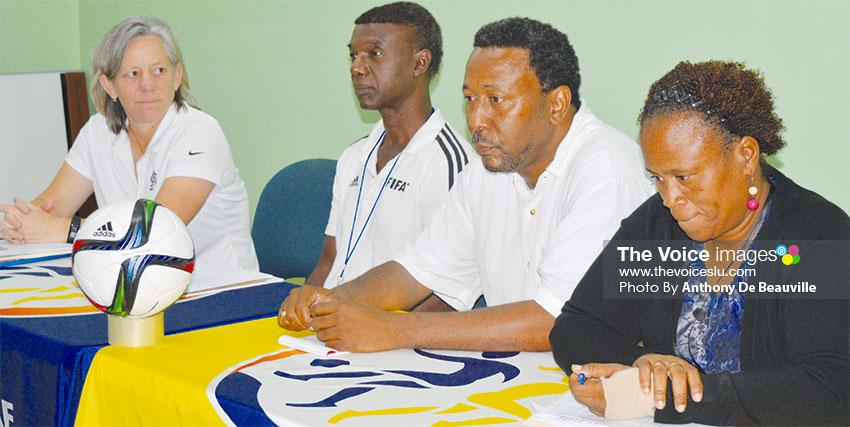 Image: (L-R) CONCACAF Facilitator Stephanie Gabbert; SLFA Technical Director Cess Podd; SLFA President Lyndon Cooper; SLFA Women's Football Coordinator Liz Campbell. (PHOTO: Anthon De Beauville)
