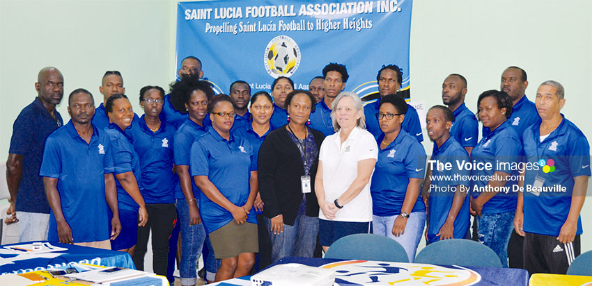 Image: CONCACAF facilitator and SLFA officials at Friday's opening ceremony. (PHOTO: Anthony De Beauville)