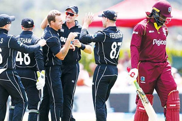 Image: Doug Bracewell found Chris Gayle's outside edge off his first ball, New Zealand versus West Indies, 1st ODI, Whangarei, December 20, 2017. (PHOTO: Getty Images)