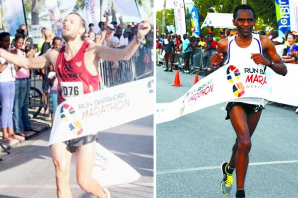 Image: (L-R) First-timer, Paul Schmidt, who crossed the line in 2 hours, 36 minutes and 13 seconds; Jean Habarurema of France set a blistering return leg of the Cave Shepherd VISA Credit Card 10K on Saturday to finish well ahead of pack.
