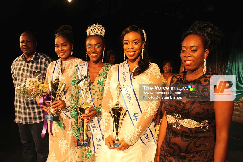 Image: Lyette Rameau, (centre), flanked by Police Commissioner SeverinMoncherry, Nysa Augustin, Natasha Auguste, and Miss RSLPF 2015, Zamera Frederick. [PHOTO: Stan Bishop]