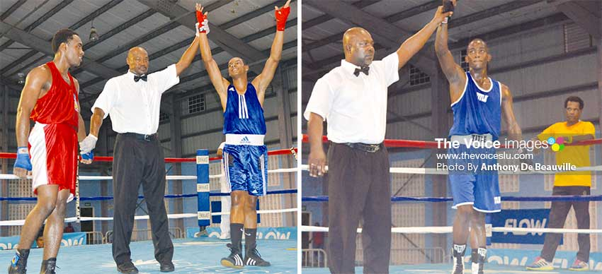 Image: Saint Lucia's Jervil Sinaise and Nathan Ferrari acknowledge their victories over Anthony Matheson (Grenada) and Wynton Phillip (Antigua and Barbuda) on the opening night. (PHOTO: Anthony De Beauville)