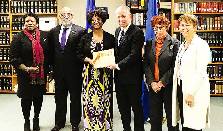 Image: Saint Lucia's first female Ambassador, Sonia M. Johnny; His Excellency Anton E. Edmunds, Saint Lucia's Ambassador to the United States and Permanent Representative to the Organization of American States; Yasmin SolitaheOdlum, Specialist for the Caribbean at the Inter-American Commission of Women (CIM) and Co-Author and Editor; Ambassador James Lambert, Secretary for Hemispheric Affairs at the OAS; Ambassador Carmen Moreno, Executive Secretary for the Inter-American Commission of Women (CIM/OAS); and Stella Villagran, Chief Librarian at the OAS Columbus Memorial Library.