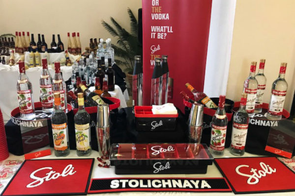Image of Stolichnaya Vodka display.