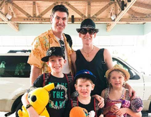 Image of the Jenkins family from Toronto was the first guests check-in at the reopened Beaches Turks & Caicos.