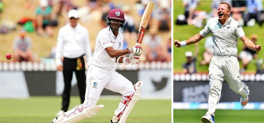 Image: (L-R) West Indies opening batsman Kraigg Brathwaite had scores of 24 and 91; Neil Wagner picked up 9 for 141 in the match for New Zealand.