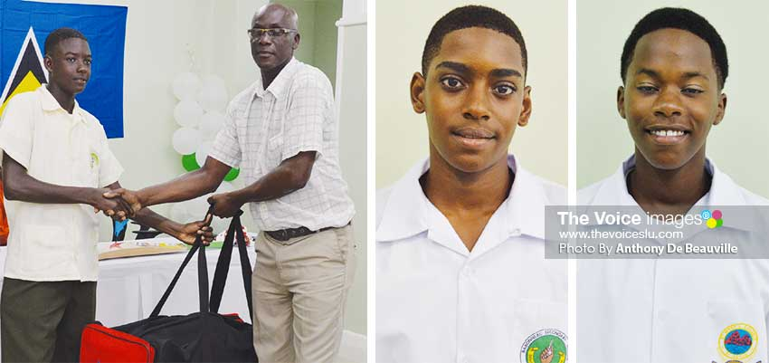 Image: (L-R) Young Noel Leo receiving much-needed cricket gear from Hensley Paul of the South Castries Cricket Association; Bolton Sayers and Ryan Goodman are expected to lead Saint Lucia's charge in both batting and bowling. (PHOTO: Anthony De Beauville)