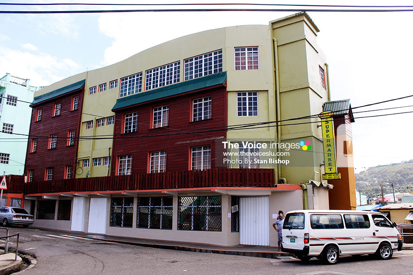 Image of Dilly's Supermarket at the corner of Darling Road and Trinity Church Road in Castries. [PHOTO: Stan Bishop]