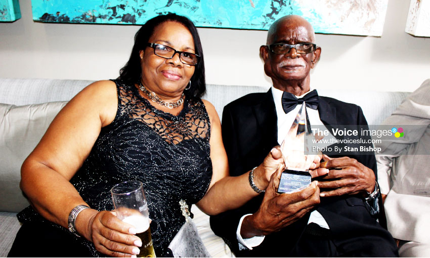 Image of Irvine Norville and his wife, Prudencia, at last Saturday's St. Lucia Business Awards. [PHOTO: Stan Bishop]