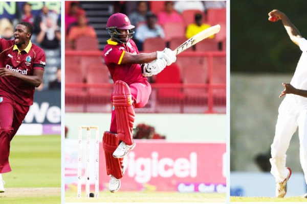 Image: (L-R) Jason Holder (captain) and Jason Mohammed (Vice-Captain) and DevendraBishoo(PHOTO: AFP/ Getty Images)