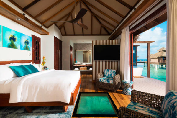 Image of an over the water bungalow at Sandals.