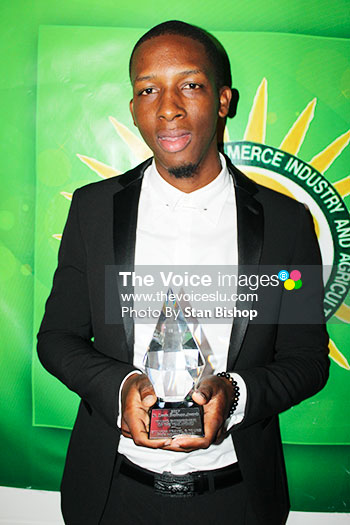 Image of Owner of St. Lucia Travel and Tours, Randy Lafontaine went home with the Invest St. Lucia Young Entrepreneur of the Year Award. [PHOTO: Stan Bishop]