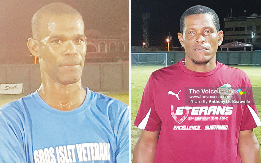 Image: (L-R) Sherman Sylvester scored the winning goal for Gros Islet; Augustin Lucien got the equalizer for Soufriere. (PHOTO: Anthony De Beauville)