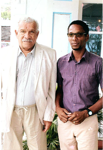 Image: Sir Derek Walcott and I at the launch of Nobel Laureate Week at Government House, January 2013.