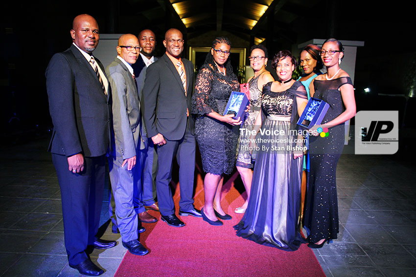 Image of the Laborie Credit Union team scored high marks with the judges by winning the Award for Corporate Social Responsibility. [PHOTO: Stan Bishop]