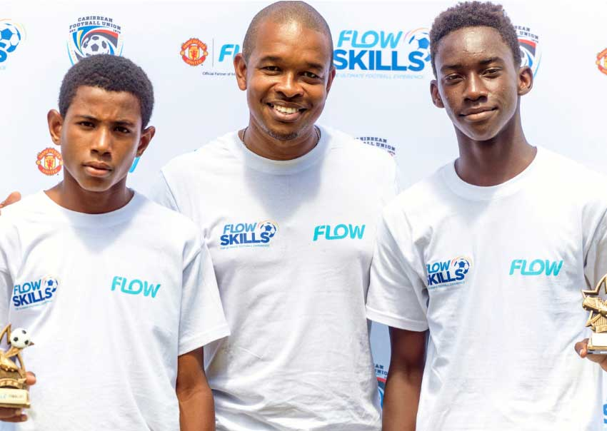 Image: Ajani Hippolyte and Bennerero Wellington, Manchester United Flow Skills Challenge Saint Lucia winners, will represent 758 in Trinidad and Tobago Flow.