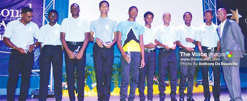 Image: Commonwealth Youth Games Beach Soccer Team Gold Medal winners honoured on the night; also in photo: Permanent Secretary in the Department of Youth Development and Sports, Donavan Williams on far right .(PHOTO: Anthony De Beauville)
