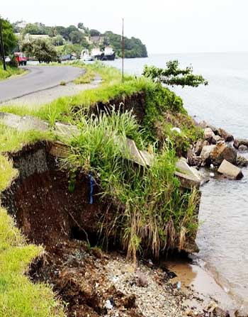Image: Damaged culvert along Banannes coastline.