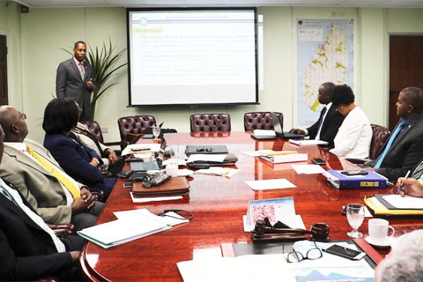 Image of ECCB Governor, Timothy Antoine, makes presentation to Cabinet.