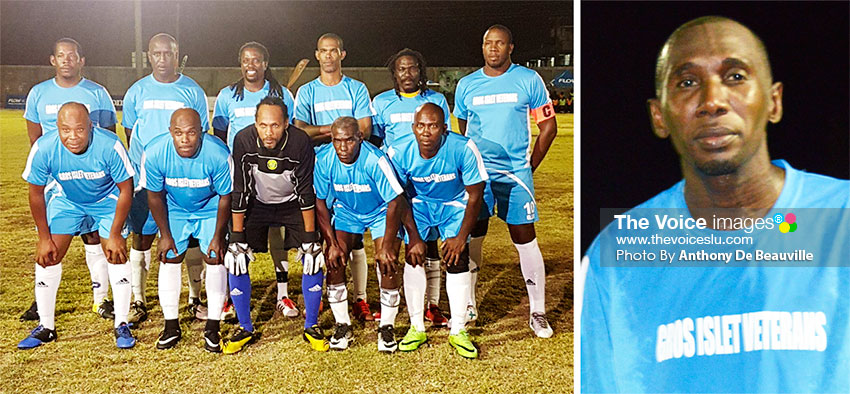 Image: (L-R) Gros Islet; lead goal scorer, Roger Celestine (8). (Photo: Anthony De Beauville)