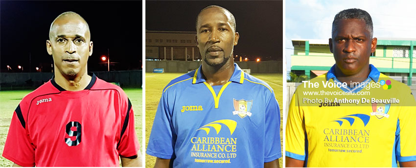 Image: (L-R) Goal scorers at the weekend for the winning teams, Guy Jn. Baptiste (VSADC), Andy Joseph and Alvin Malaykhan (Caricom Masters). (Photo: Anthony De Beauville)