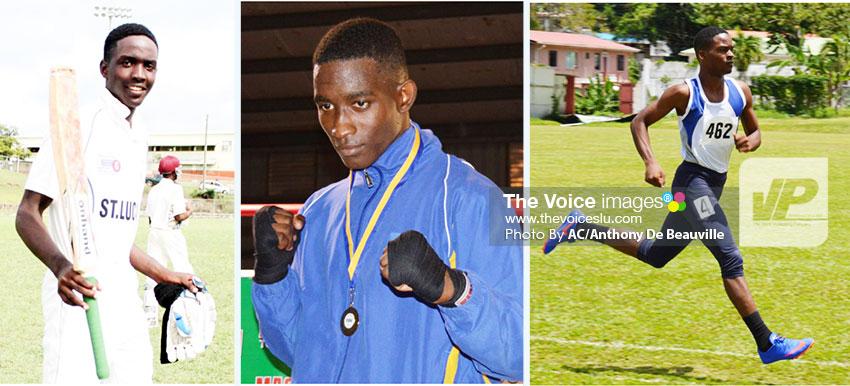 Image: (L-R) Kimani Melius (cricket), Nathan Ferrari (boxing) and Ruben Nichols (athletics). (PHOTO: AC/Anthony De Beauville)
