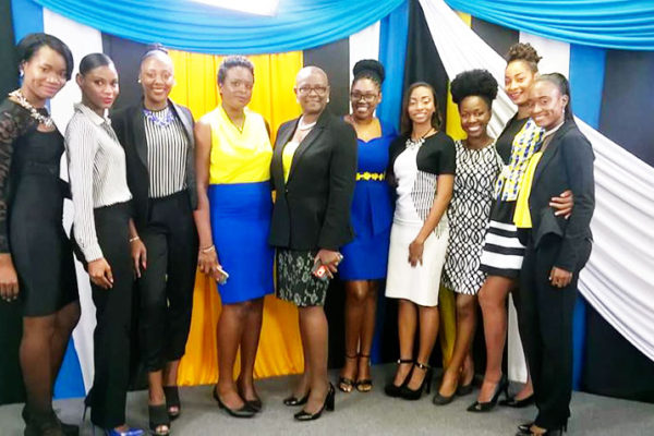 Image of Miss Independence contestants with Minister for Culture, Fortuna Belrose.
