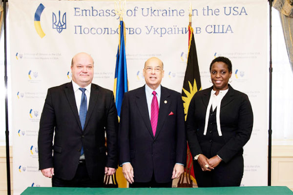 Image: Representatives from Ukraine and Antigua and Barbuda at Monday's signing.