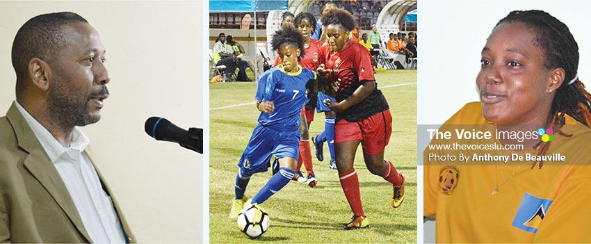 Image: (L-R) SLFA President Lyndon Cooper will address the gathering; Junior female, National Under–17 striker Krysan St. Louis (No. 7) in action in the CONCACAF tournament (VFS); Senior female captain, Elissa Marquis (Dennery). (PHOTO: Anthony De Beauville)
