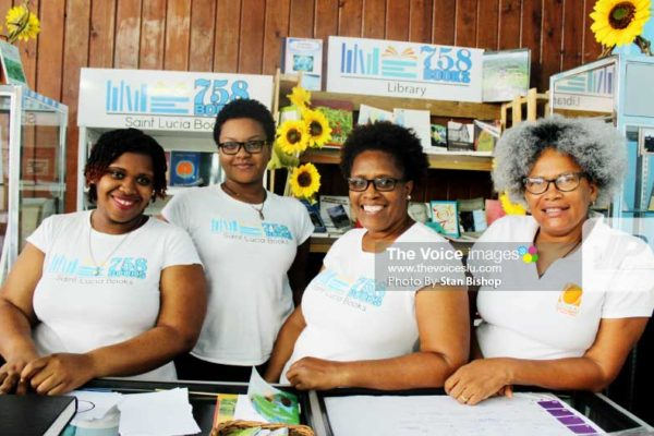 Image: The Saint Lucia Books team at this year's Book Fair at Castries City Hall. [PHOTO: Stan Bishop]