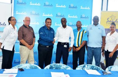 Image of Sandals and SLNCA representatives at this week's press conference.