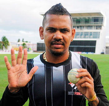 Image: Sunil Narine finished with 5 for 10, Combined Campuses and Colleges versus Trinidad & Tobago. (Photo: CWI Media)