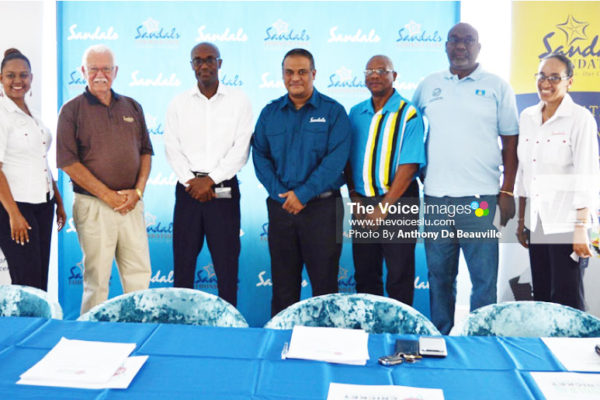Image: A proud moment for members of Sandals International, the SLNCA representatives and Joseph 'Reds' Perreira at the inaugural press launched of the 'Sandal Cup' at Sandals Halycon (PHOTO: Anthony De Beauville)
