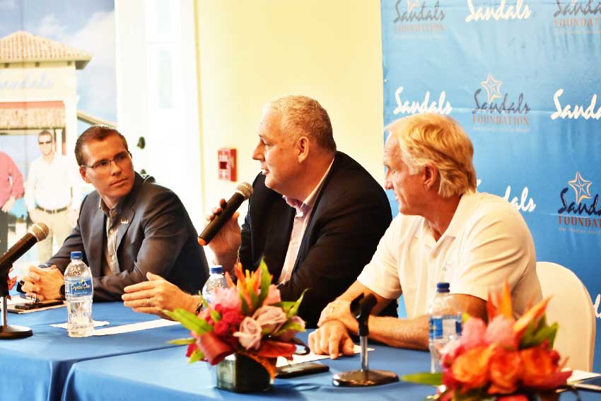 Image: Saint Lucia Prime Minister Honourable Allen Chastanet flanked by Sandals CEO and Deputy Chairman Adam Stewart and Golf Hall-of-Famer-Greg Norman at a Press launch Tuesday.