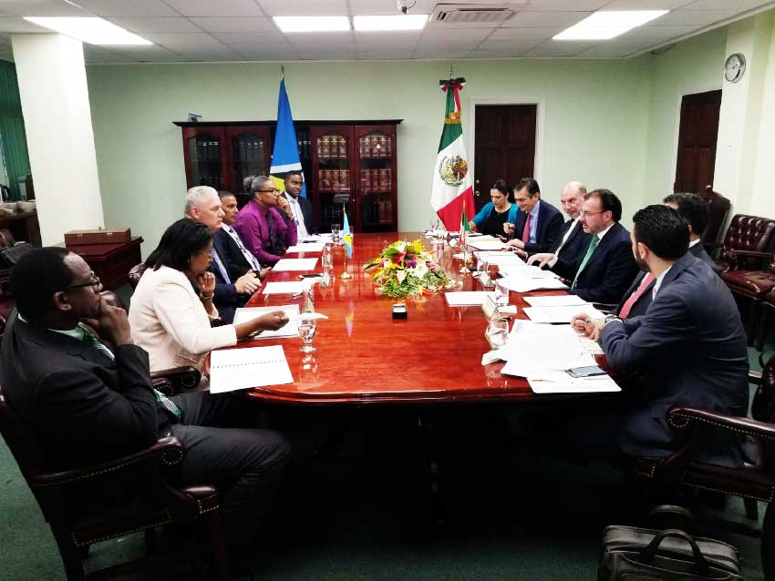 Image: Bilateral talks underway between Mexico and St. Lucia.
