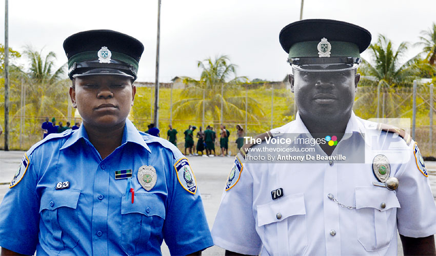 Image: (L-R) Correctional Officer 1 Yasmine Peter, Correctional Officer 2 Jim Anderson Williams. (PHOTO: Anthony De Beauville)