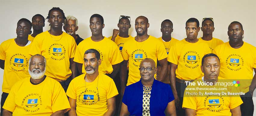 Image: Saint Lucia Commonwealth Games, Gold Coast team 2019, missing in photo – Levern Spencer; Spencer was the only athlete to bring home a medal. (PHOTO: Anthony De Beauville)