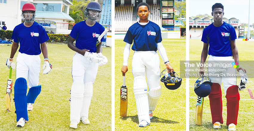 Image: (L-R)Gros Islet opening batsmen, Dane Edward and Kimani Melius, Keygan Arnold (Central Castries) and wicketkeeper batsman Garvin Serieux (Gros Islet) (Photo: Anthony De Beauville)