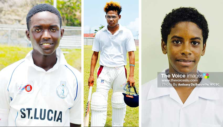 Image: (L-R) Kimani Melius (West Indies U19 opening batsman), Jermain Harding - middle order batsman and Akeem Auguste – National U15 captain (PHOTO: Anthony De Beauville/ WICBC)