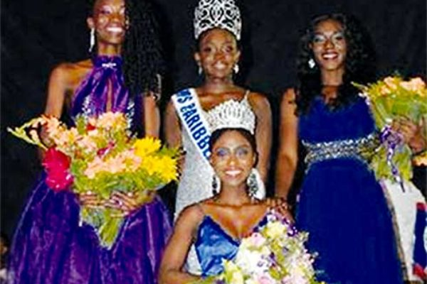 Image: From left to right, Miss Barbados, Miss Dominica (standing) ZenaidaJnBaptiste (seated), Miss Belize (right). PHOTO: by Quantamie Wilson