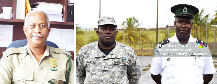 Image: (L-R) Assistant Deputy Director of Administration at the BCF, Patrick Allain; Awardees, Correctional Officer 2 Etheldred James and Correctional Officer 2 Michael Casimir. (PHOTO: Anthony De Beauville)