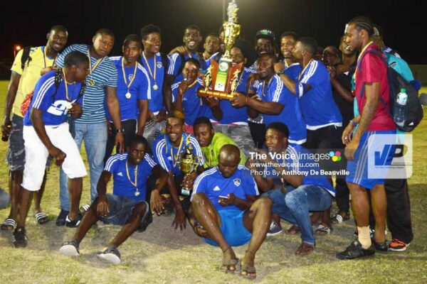 Image: Platinum FC celebrate their championship victory. (PHOTO: Anthony De Beauville)
