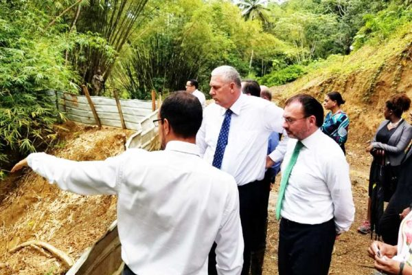 Image: Prime Minister Chastanet and the Mexican Foreign Minister Luis Caso touring various points in the Dennery North Water Project.