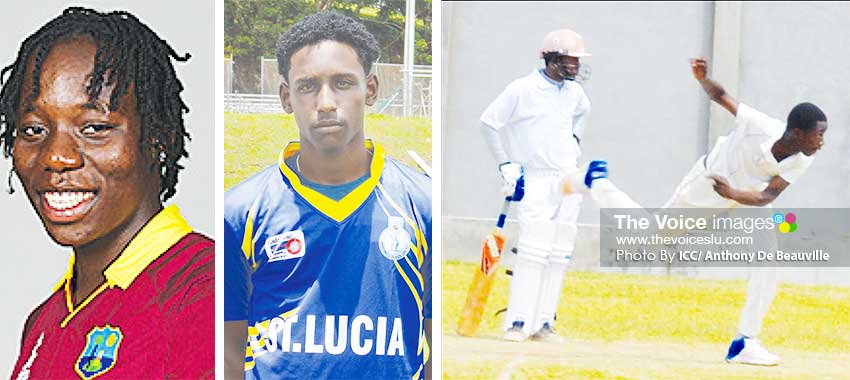 Image: (L-R) Qiana Joseph (fast bowler), Johnnel Eugene (top order batsman) and Tyran Theodore (right arm fast bowler) (PHOTO: ICC/ Anthony De Beauville)
