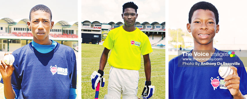 Image: (L-R) Sanjay Hayle (Central Castries) picked up a hat trick on the day , he claimed 3 for 2, Jermaine Harding opening batsman (VFN) and left arm orthodox spinner Simeon Gerson ( Gros Islet) (PHOTO: Anthony De Beauville)