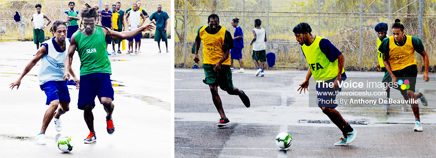 Image of Some of the well behaved inmates showing their football skills on Friday. (PHOTO: Anthony De Beauville)