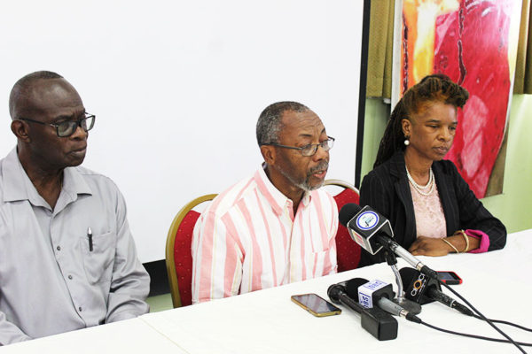 Image of press conference held Monday morning